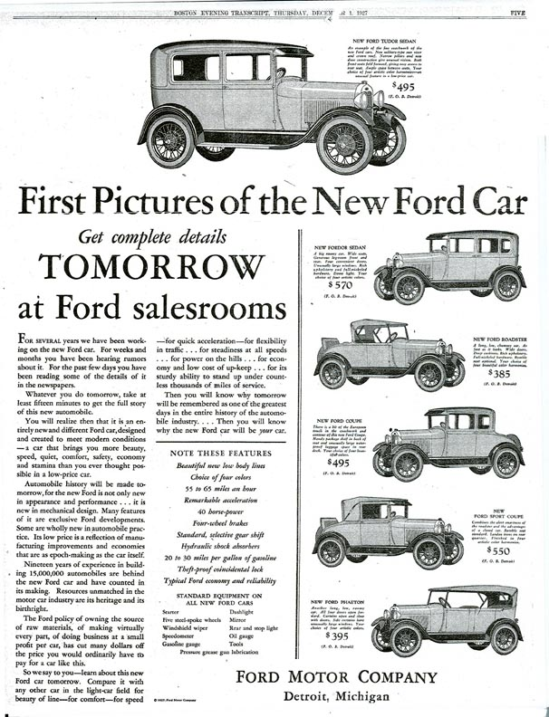 Ford Car Production Timeline